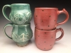 Copper Green Mugs Salt glazed mugs