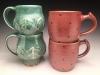 Copper Green Mugs Salt glazed mugs